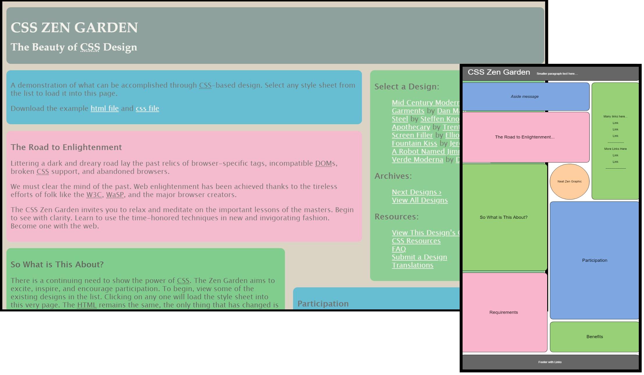 full screen and mobile view of website - Css Zen Garden